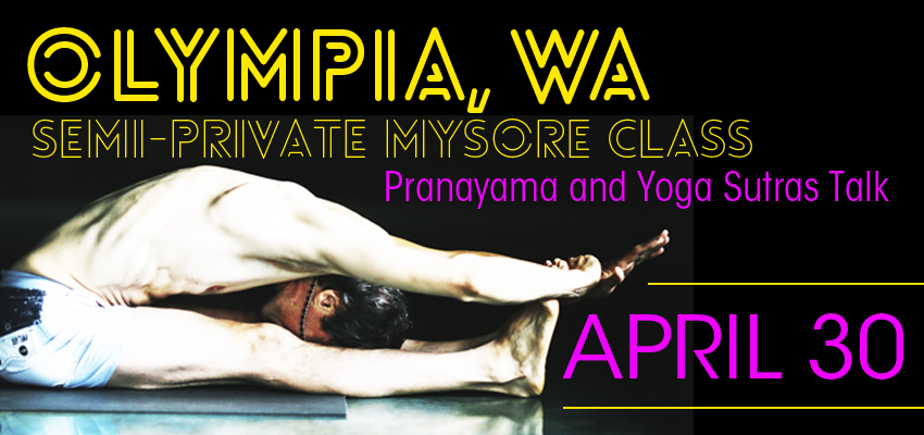Semi Private Mysore classes include an hour and 45 minute Mysore class plus an additional half-hour on specific hatha yoga subjects that David chooses. Subjects include pranayama, bandhas or asana theory.